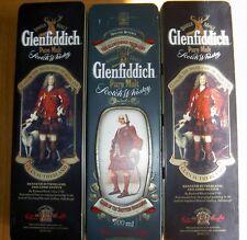 3 Empty Glenfiddich Pure Malt Scotch Whisky Tins