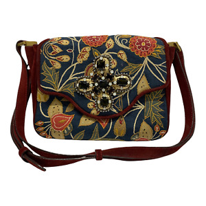 Tory Burch Maroon Suede Leather Embroidered Floral Crossbody Shoulder Flap Bag