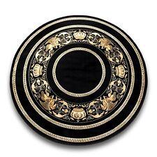Teppich mit Versace Muster Rund Schwarz 150x150 Seidig Mäander Medusa Carpet Rug