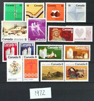 CANADA Postage Stamps, 1972 Complete Year Set collection, Mint NH, See scans