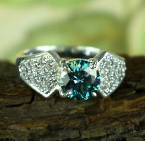 Free Shipping 4.31 Ct Blue Diamond Solitaire Wedding Proposal Ring With Accents