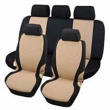 Car Seat Covers Beige and Black Complete Full Set For Auto Vehicle Upholstery US