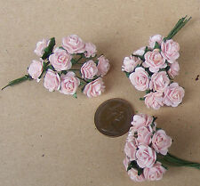 1:12 Scale 3 Bunches (30 Flowers) Of Pink Paper Roses Dolls House Miniature PJ
