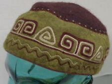 AUTHENTIC TUMAR WOOL BROWN/GREEN ADULT WOOL HAT MADE IN KYRGYZSTAN SIZE LARGE