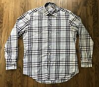 Burberry Brit Mens Signature Nova Check Long Sleeve Button Down Shirt Size Large
