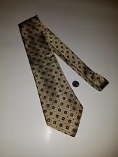 NORDSTROM gold blue red white 100% Luxury Silk men's Neck Tie Made in Italy