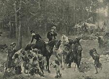 ANTIQUE WOMAN MAN EQUESTRIAN HORSE BACK RIDERS GYPSY GREYHOUND DOG ALMS PRINT