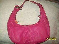 "Ladies ROLF's 12"" Genuine Split Leather HOT PINK Zipper Handbag Sachel Purse-New"