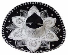 Adult Mexican Mariachi Hat Sombrero Charro Cinco de Mayo Folk Art Black Silver