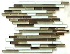 """Santa Barbara 12""""x12"""" Matchstick Glass Mosaic Tile Shiny Backsplash Shower Spa"""
