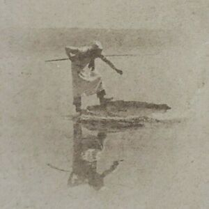 Yellowstone Lake Hot Springs Larry Cooking Trout Fisherman Photo Stereoview C421
