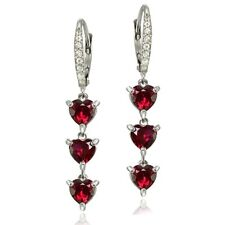 Sterling Silver Created Ruby and White Topaz Heart 3-Stone Dangle Earrings