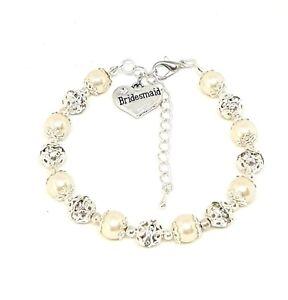 Personalised Wedding Pearl Bracelet Bridesmaid, Flower Girl Thank you Present