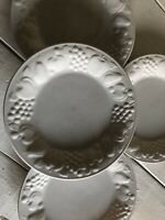 "4 Libbey White Fruit Embossed Plate 8 1/2"" salad dessert lunch Retired"