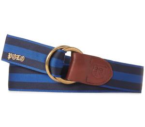 POLO RALPH LAUREN Men's Navy/Royal Blue Grosgrain Striped Belt NEW NWT