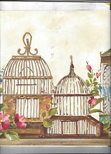 WALLPAPER BORDER BIRD CAGES COUNTRY SHABBY NEW ARRIVAL FLOWERS FLORAL