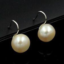 9m White Cultured Freshwater Pearl Sterling Silver Hook Stud Earrings 03691