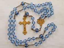 Ancien chapelet rosary argent vermeil perles verre bleu croix ciselée 20777