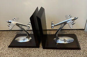 Airplane Pewter Finish 8 inch Decorative wooden Bookends Set