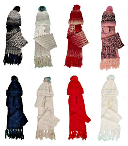 Womens Ladies Wooly Thick Hat Scarf and gloves Set knitted Woollen 100% Acrylic