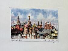 Aquarelle Originale Moscou Mockba 1996