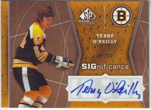 2009-10 SP Game Used SIGnificance #SIG-OR Terry O'Reilly 50/50 AUTO Boston Bruin
