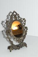 Antique Victorian Baroque Style Decorative Pedestal Vanity Mirror Small Vintage