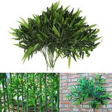 2PC Plastic Green Artificial Bamboo Leaf Vine Plant 20 Leaves Fake Foliage Decor