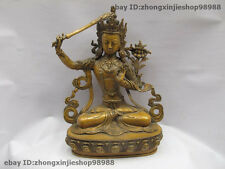 Tibet Buddhism Goddess Bronze Copper Manjushri Kwan-Yin Goddess Buddha Statue