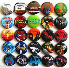 EXODUS EXUMER NUCLEAR ASSAULT CARNIVORE Button Badges Pins Thrash Metal 25 pcs