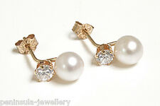 9ct Gold Cultured Pearl and CZ Stud earrings Gift Boxed Made in UK Xmas Gift