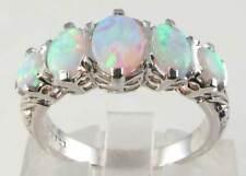 Ins Fiery Aus Opal Ring Huge 9K White Gold Victorian