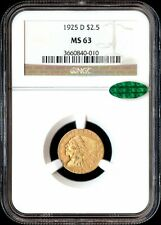 1925-D $2 1/2 MS63 NGC. Green CAC