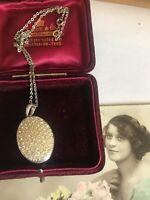Vintage Silver Tone Diamante Oval Locket Pendant Necklace