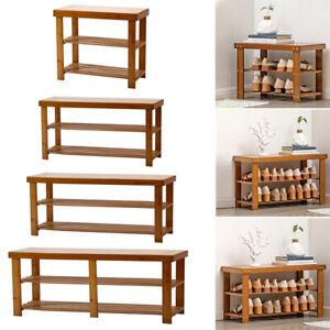 3Tier Wood Shoe Rack Seating Bench Hallway Storage Organise Holder Cushion Stand