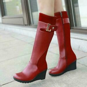 Women Knee-High Riding Boots Shoes Leather Wedge High Heels Round Toe Shoes Size