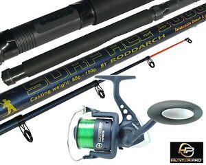 10ft Telescopic Sea Fishing Kit Rod & Reel Set + Line. Beachcaster Pier Surf Rod