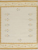 Hand-Woven Contemporary Flat-Weave Ivory Kilim Dhurrie Oriental Area Rug 7x10