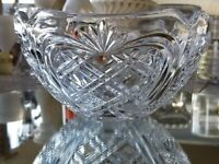 "Large Fostoria 1992 Dated Clear Glass Serving Bowl Chips/Fruit 8 1/4"" Saw Tooth"