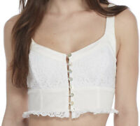 NWT Free People Womens Crop Top White Lace Sleeveless Button Down Blouse Size S
