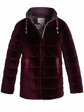 Womens Quilted Jacket Padded Velvet Bubble Coat Size 12 10 14 16 18