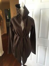 OWEN SLAB- RICK OWENS Choclate Brown Cotton Draped Hooded Wrap Sweatshirt- Large