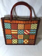 Vintage Summer Purse Tote Bag Plastic Canvas Yarn Knitting Needlepoint Hobby Bag