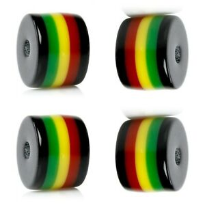 50 or 100 RASTA Beads Green Red Black Yellow Striped Barrel Tube Resin Bubblegum