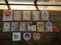 LOT OF 14 VINTAGE DIE CUT VALENTINE DAY CARDS