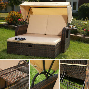 Gartenliege Polyrattan Bett in braun inkl. Sonnendach Rattan Sofa Loungeliege