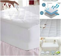 WATERPROOF MATTRESS PROTECTOR 100% COTTON QUILTED TOPPER BED FITTED DOUBLE KING