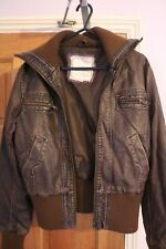 Womens Used Miso brown leather look biker jacket size 8