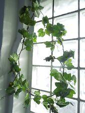 Weinlaub Girlande Efeu L 180cm mit 4 xTrauben Ranke Kunstpflanze Textilblumen