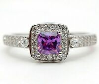 SALE 1CT Amethyst & White Topaz 925 Solid Sterling Silver Ring Sz 6 UC5